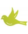 Decoratie muur vogel groen 22 cm