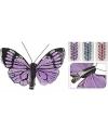 Vlinder op clip 6 stuks roze
